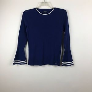 Nautica Womens Long Ribbed Bell Sleeve Sweater